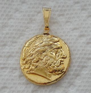 Zeus,  King Of The Gods,  Minted By Philip Ii,  24k Gold Plated Coin Pendant photo