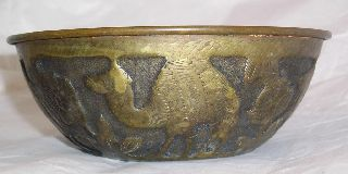 Vintage Islamic Bowl With Camels C24 photo