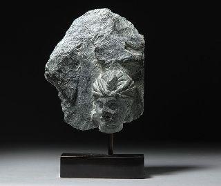 Ancient Indian Gandharan Greek - Buddhist Schist Sculpture photo