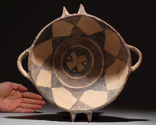 Ancient Greek Daunian Painted Pottery Bull Bowl photo