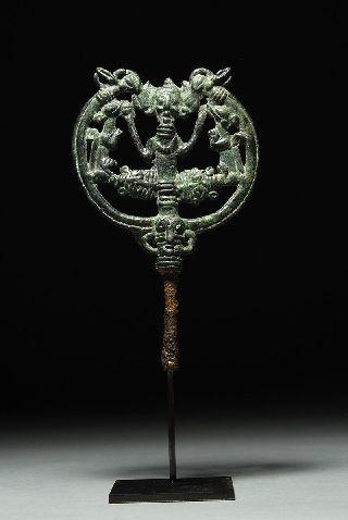 Ancient Luristan Bronze Openwork Animals Pin 1000 B.  C. photo