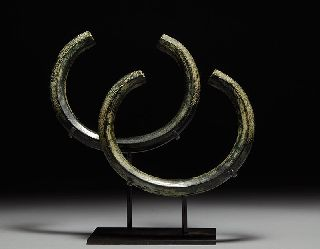 Ancient Near Eastern Pair Of Bronze Age Bangles photo