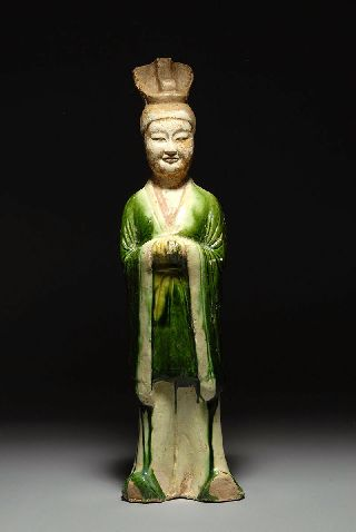 Ancient Chinese Tang Dynasty Sancai Glazed Pottery Figure Of An Official photo