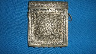 Ottoman Empire Cartridge Box / Gun Powder Flask / Silver Alloy / 19th Century photo