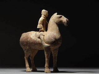 Ancient Chinese Han Dynasty Pottery Horse & Rider 200 A.  D. photo