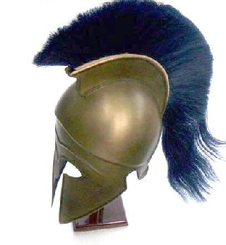 Corinthian Armor Helmet With Black Plume Collectible Greek Armory Prop Replica photo