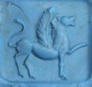 Rare Sassanian Empire Rock Crystal Pottery Seal Stamp - Winged Gryphon photo