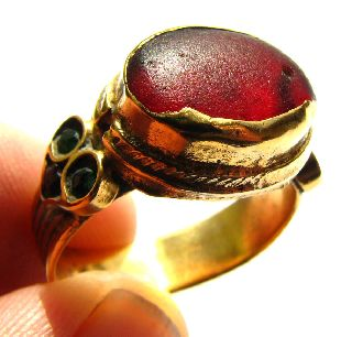 Fine Late Medieval Moorish Gold Gilt Ring With Red Glass Setting photo