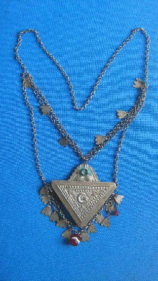 Antique Islamic Amulet / Ornament / Ottoman Empire / Silver Alloy / 19th Century photo