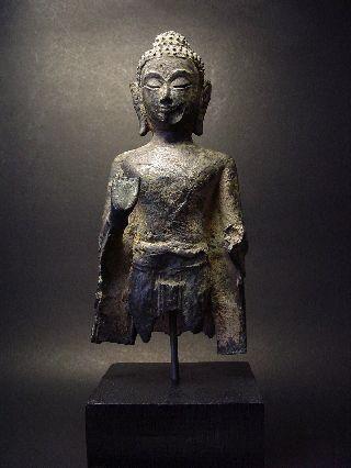Rare Bronze Ayutthaya Standing Buddha Fragment photo