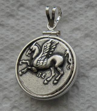 Athena,  Pegasus,  Slvr Pltd Coin Pendant,  Sterling Silver Bezel,  Rhodium Plated Cain photo