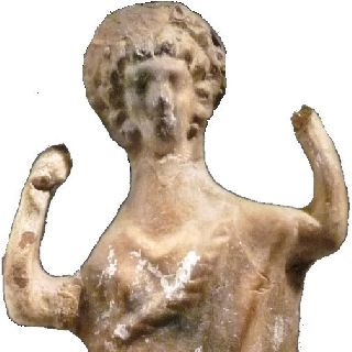 Ancient Greek Terracotta Female Figurine Dancing Tall 10½ Inches 26.  5 Cm 300bc photo