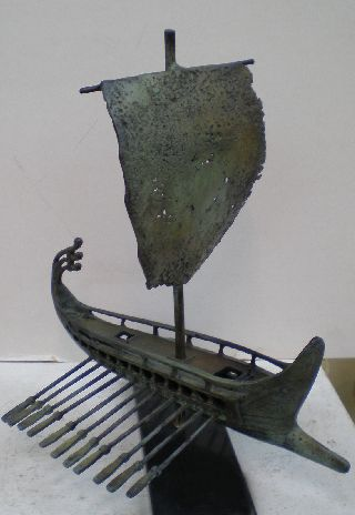 Trireme - Bireme - Penteconter - Bronze Item - Ancien​t Greek Ship - Hand Made photo