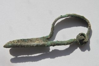 Ancient Greek Hellenistic Bronze Fibula 3rd Century Bc photo