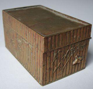 Fine Japanese Bronze Box Mieiji Era Bamboo Decor photo