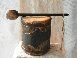 Antique African Drum Tomtom & Hide & Chinese Gong Stick Collectible Home Decor photo