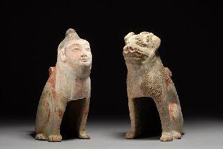 Ancient Chinese Tang Pottery Earth Spirits Pair photo