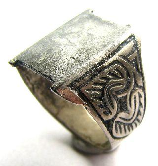 Medieval Silver Decorated Neillo Ring Circa: 16th Century - Condition photo
