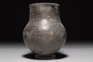 Ancient Persian Burnished Dark Grey Pottery Ovoid Jug photo