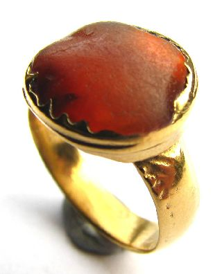 Medieval Gold Gilt Finger Ring Deep Orange Agate Setting 16th Century photo