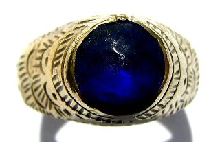 Medieval Gold Gilt Stirrup Ring Night Blue Stone Setting 16th Century V.  Fine photo