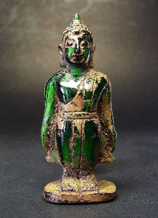 Rare Green Tourmaline Gemstone Standing Sukhothai Buddha,  Stupa Relic photo