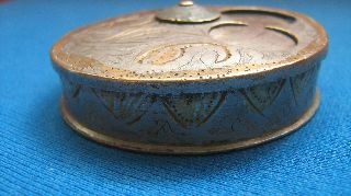 Ottoman Bronze Snuff Box / Pill Box / Silver - Plated / 19th Century photo