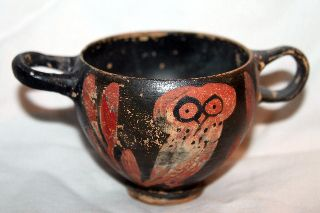 Ancient Greekattic Red Figure Owl Pottery Skyphos 5th Century Bc photo