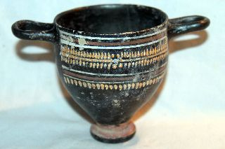 Quality Ancient Campanian Skyphos Greek Pottery 4th Bc Wine Cup photo