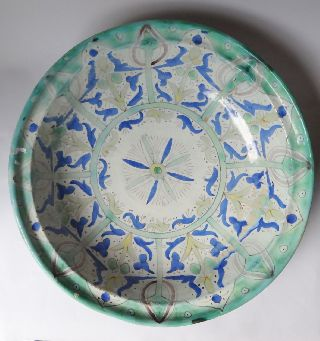 Moroccan 41cm Large Ghotar/chqala Faience - 1920/30 Plate/charger Morocco Minium photo