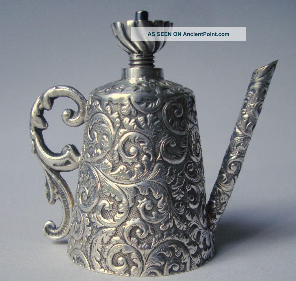 Silver Goldsmith Ottoman Unusual Instrumaent Oil Lamp Pitcher Miniature Turban Miniatures photo