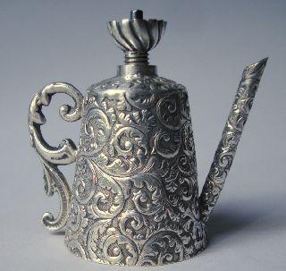 Silver Goldsmith Ottoman Unusual Instrumaent Oil Lamp Pitcher Miniature Turban photo