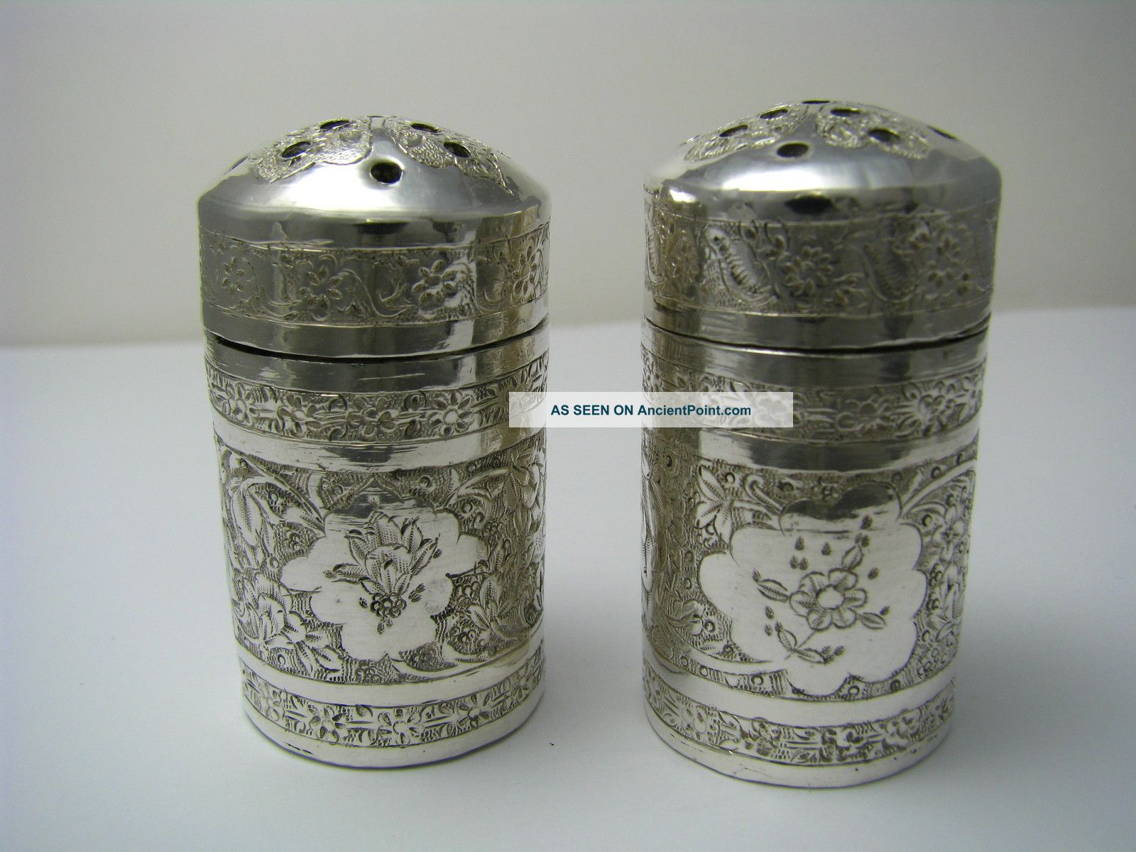 Handcrafted Solid Silver Salt & Pepper Shakers Arabic Persia Middle East Ca1900s Salt & Pepper Shakers photo