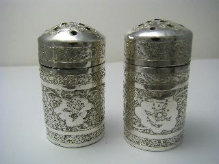 Handcrafted Solid Silver Salt & Pepper Shakers Arabic Persia Middle East Ca1900s photo