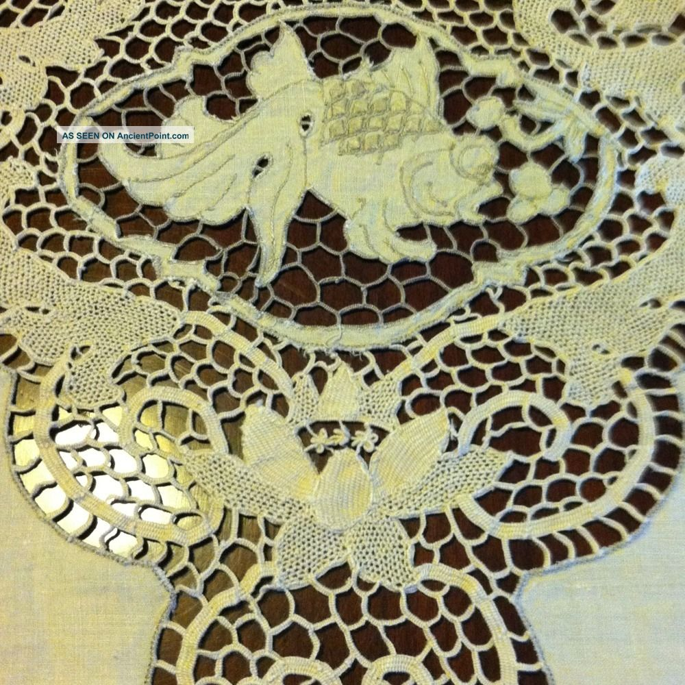 Italian Linen Fish Tablecloth Reticella Point De Venise Lace 12 Napkin 94 X 62 South Italian photo
