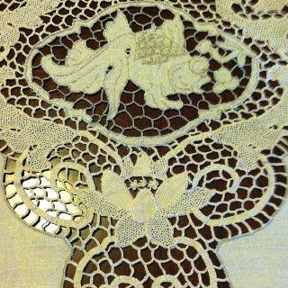 Italian Linen Fish Tablecloth Reticella Point De Venise Lace 12 Napkin 94 X 62 photo