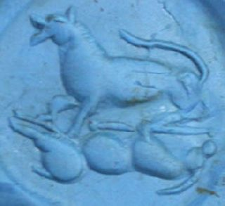 Rare Sassanian Empire Rock Crystal Pottery Seal Stamp - Wolf Hunting photo
