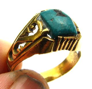 Medieval Gold Gilt Ring With Stunning Natural Turquiose Setting 17th Century photo