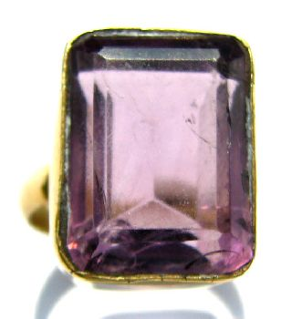 Post Medieval Gold Gilt Finger Ring - Facet Cut Pale Amethyst Setting 1800 ' S photo