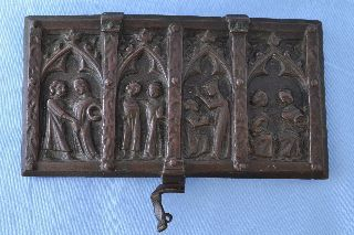 Antique Medieval French Coffret De Mariage Casket Box Lid C1550 photo
