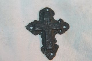 Ancient Byzantine Bronze Cross C.  12/15th Century Ad photo