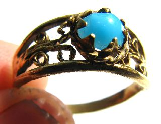 Medieval Gold Gilt Ring With Stunning Clasped Blue Turquiose Gem 17th Century photo