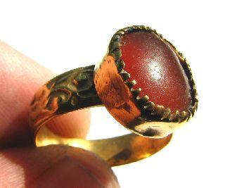 Medieval Gold Gilt Finger Ring Deep Orange Carnelian Setting 16th Century photo