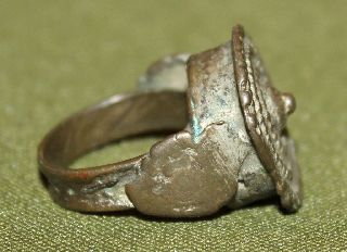 Antique Medieval Greek Silver Folk Ring photo