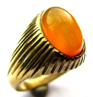 Fine Gilt Georgian Signet Ring With Orange Sun Stone Agate - 18th Century photo