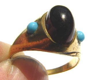 Post Medieval Gold Gilt Ring Garnet And Turquiose Settings Circa: 18th Century photo