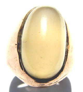 Post Medieval Era Heavy Gold Gilt Ring - Orthoclase Moonstone 18th Century photo