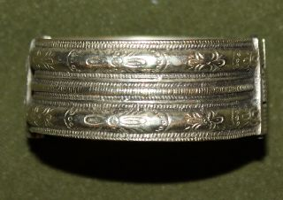 Antique Medieval Greek Hinged Cuff Silver Floral Bracelet photo