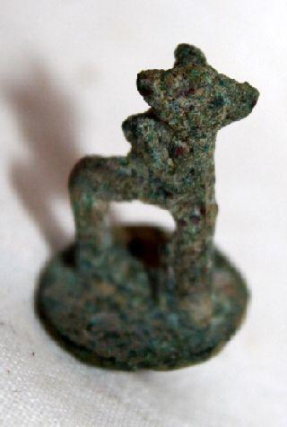 Amcient Luristan Bronze Elk Figure C.  800 Bc photo