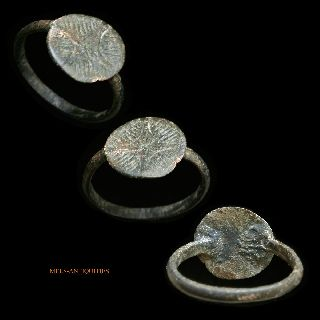 Medieval Bronze Ring Haloed Cross Mels - Antiquities photo